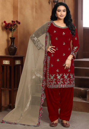 Embroidered Art Silk Punjabi Suit in Maroon