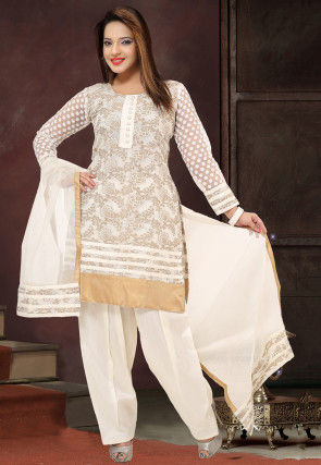 Embroidered Art Silk Punjabi Suit in Off White