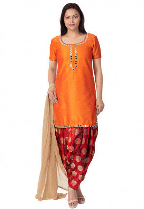 Embroidered Art Silk Punjabi Suit in Orange