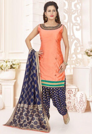 Embroidered Art Silk Punjabi Suit in Peach
