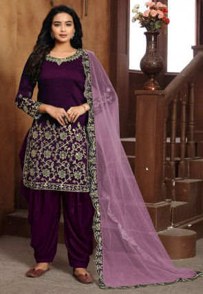 Embroidered Art Silk Punjabi Suit in Purple