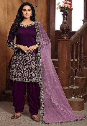 Embroidered Art Silk Punjabi Suit in Purple