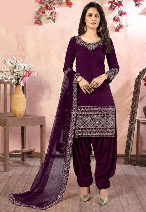 Embroidered Art Silk Punjabi Suit in Wine
