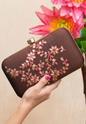 Embroidered Art Silk Rectangular Box Clutch Bag in Brown