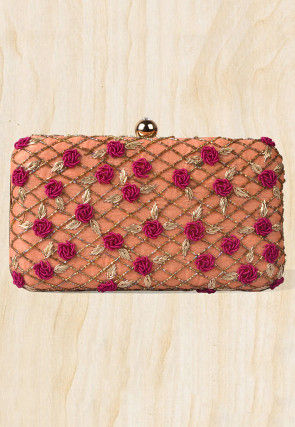 Embroidered Art Silk Rectangular Box Clutch Bag in Peach
