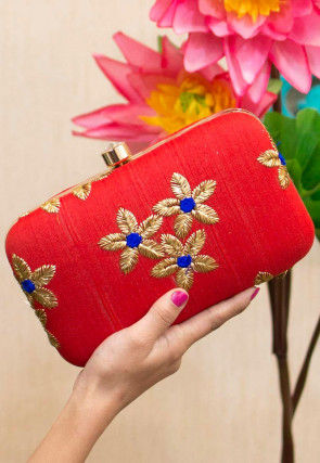 Embroidered Art Silk Rectangular Box Clutch Bag in Red