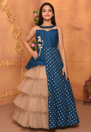 Embroidered Art Silk Ruffled Gown in Blue and Peach