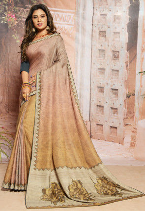 Embroidered Art Silk Saree in Beige and Mustard