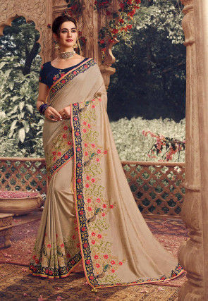 Embroidered Art Silk Saree in Beige