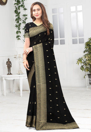 Embroidered Art Silk Saree in Black