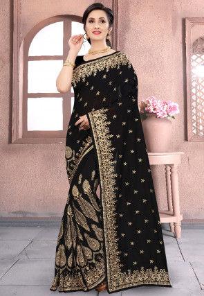 Embroidered Art Silk Saree in Black