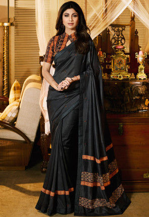 Embroidered Art Silk Saree in Dark Grey