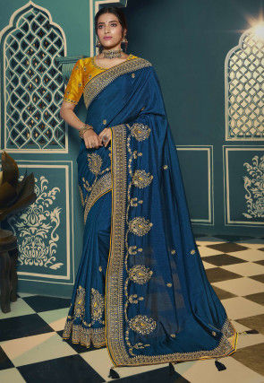 Embroidered Art Silk Saree in Blue