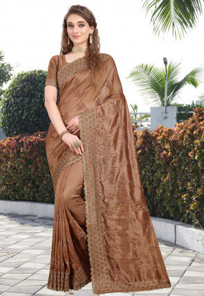 Embroidered Art Silk Saree in Brown