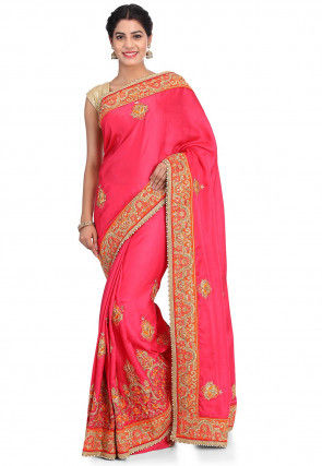 Embroidered Art Silk Saree in Coral Pink