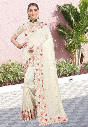 Embroidered Art Silk Saree in Cream