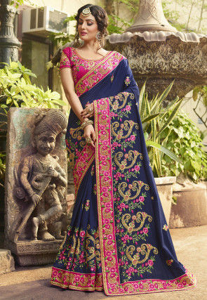 Embroidered Art Silk Saree in Dark Blue