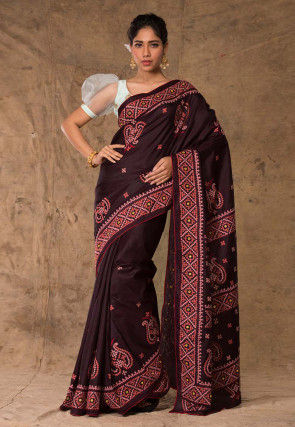 Embroidered Art Silk Saree in Dark Brown