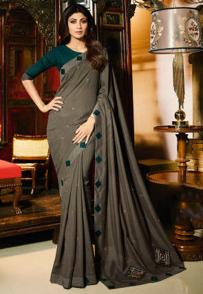 Embroidered Art Silk Saree in Dark Fawn