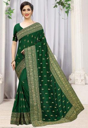 Embroidered Art Silk Saree in Dark Green