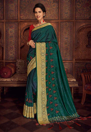 Embroidered Art Silk Saree in Dark Green