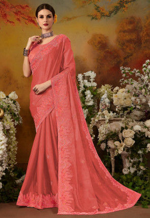 Embroidered Art Silk Saree in Dark Peach
