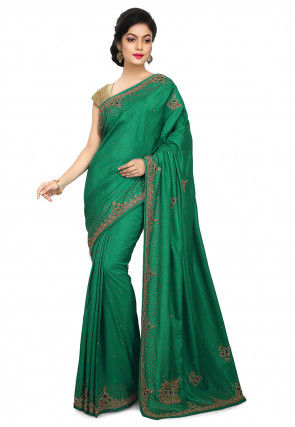Embroidered Art Silk Saree in Dark Teal Green