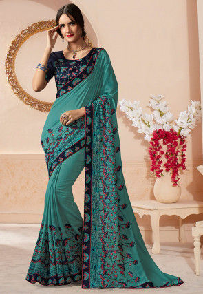 Embroidered Art Silk Saree in Dusty Blue