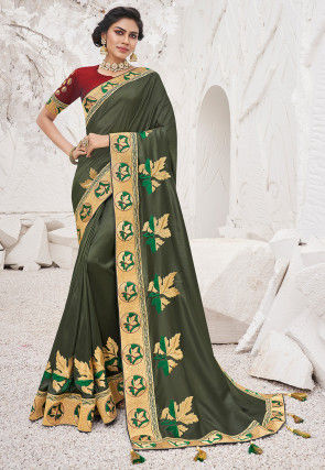 Embroidered Art Silk Saree in Dusty Green