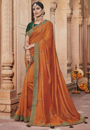 Embroidered Art Silk Saree in Dusty Orange