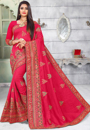Embroidered Art Silk Saree in Fuchsia