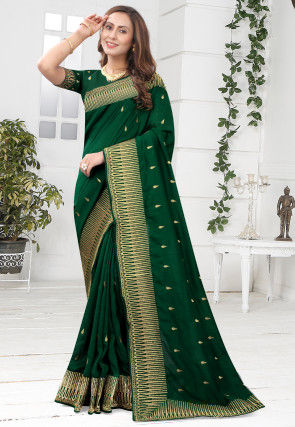 Embroidered Art Silk Saree in Green