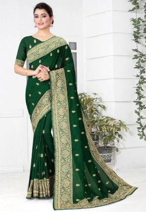 Embroidered Art Silk Saree in Green