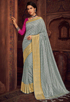 Embroidered Art Silk Saree in Grey