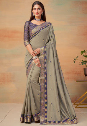 Embroidered Art Silk Saree in Grey