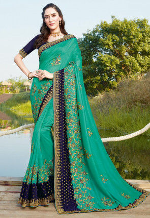 Embroidered Art Silk Saree in Light Green and Navy Blue