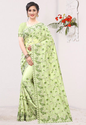Embroidered Art Silk Saree in Light Green