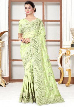 Embroidered Art Silk Saree in Light Green