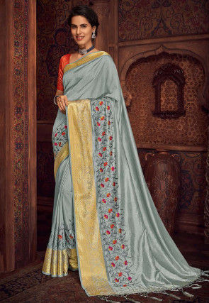 Embroidered Art Silk Saree in Light Grey