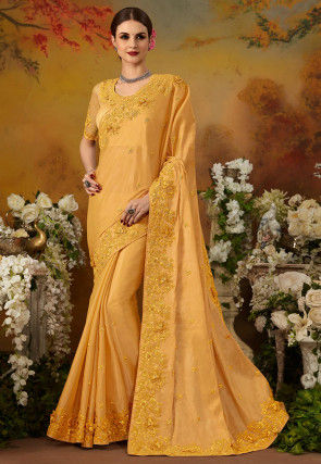 Embroidered Art Silk Saree in Light Mustard