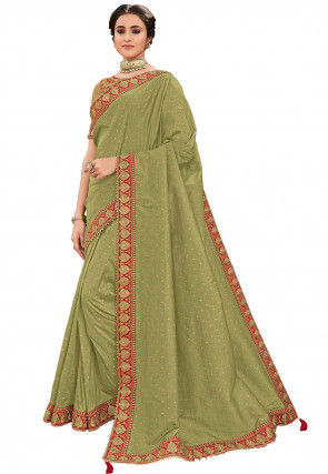 Embroidered Art Silk Saree in Light Olive Green
