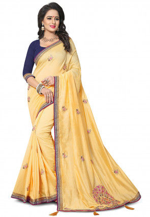 Embroidered Art Silk Saree in Light Yellow