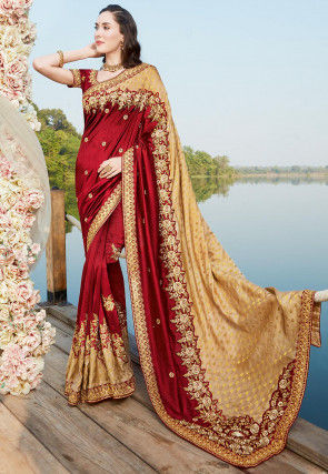 Embroidered Art Silk Saree in Maroon and Beige