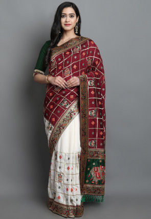 Embroidered Art Silk Saree in Maroon and Off White