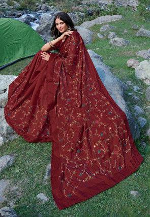 Embroidered Art Silk Saree in Maroon