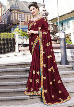 Embroidered Art Silk Saree in Maroon