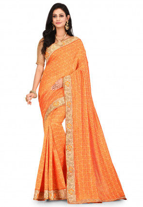 Embroidered Art Silk Saree in Mustard and Orange