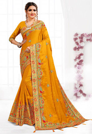Embroidered Art Silk Saree in Mustard