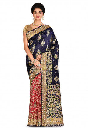 Embroidered Art Silk Saree in Navy Blue and Red