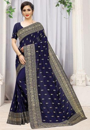 Embroidered Art Silk Saree in Navy Blue